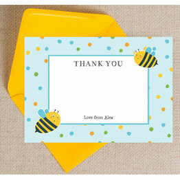 Bumble Bees Thank You Card - Blue