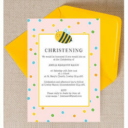 Bumble Bees Christening / Baptism Invitation - Pink