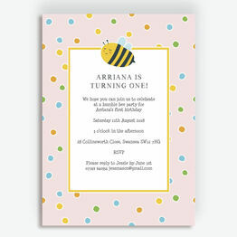 Bumble Bees Party Invitation - Pink