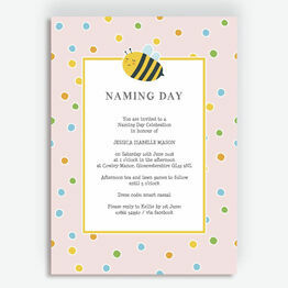 Bumble Bees Naming Day Ceremony Invitation - Pink
