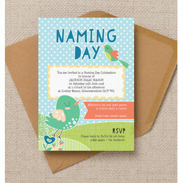 Cute Birds Naming Day Ceremony Invitation - Blue