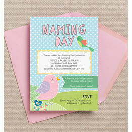 Cute Birds Naming Day Ceremony Invitation - Pink