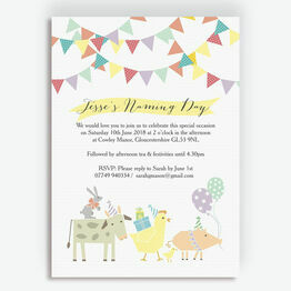 Farmyard Animals Naming Day Ceremony Invitation