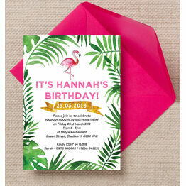Flamingo Fiesta Birthday Party Invitation