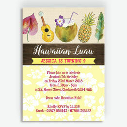 Hawaiian Hula / Luau Birthday Party Invitation