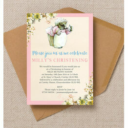 Mrs Tiggy Winkle Christening / Baptism Invitation