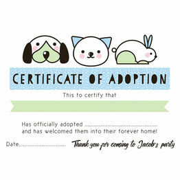 Pet Rescue Party Pretend 'Adoption Certificate' - Blue