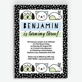 Pet Rescue Birthday Party Invitation - Blue