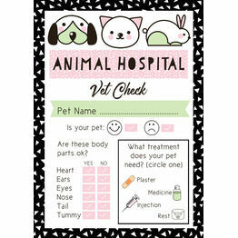 Pet Rescue Party Vet's Checklist - Pink