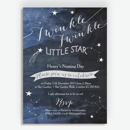 Twinkle Twinkle Little Star Naming Ceremony Day Invitation
