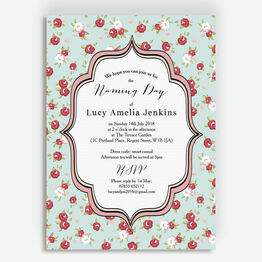 Vintage Rose Naming Ceremony Day Invitation