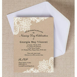 Rustic Kraft & Lace Naming Ceremony Day Invitation