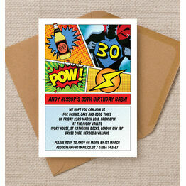 comic book inspired superhero 40th birthday party invitation from