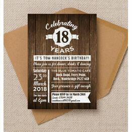 Rustic Wooden Background Birthday Party Invitation