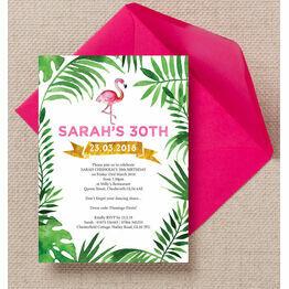 Pink Flamingo Tropical Themed Birthday Party Invitation