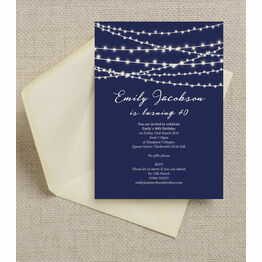 Navy Blue Fairy Lights Birthday Party Invitation
