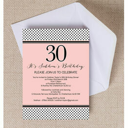 Blush Pink & Black Polka Dot Birthday Party Invitation