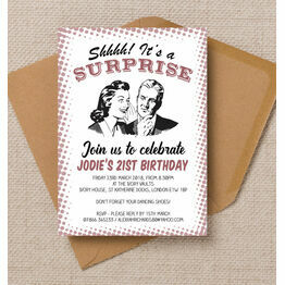 Retro Surprise Ladies Birthday Party Invitation