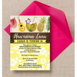 Hawaiian Luau Tropical Themed Birthday Party Invitation