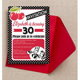 Retro Rockabilly / Motown 1960's Themed Birthday Party Invitation