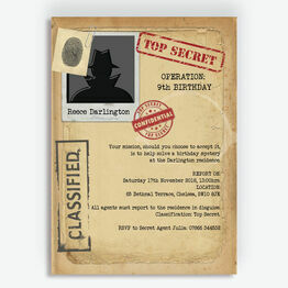 Spy Mission / Secret Agent Birthday Party Invitation