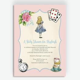 Pink & Blue Alice in Wonderland Baby Shower Invitation