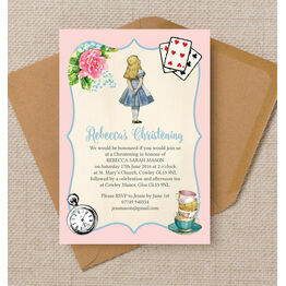 Pink & Blue Alice in Wonderland Christening / Baptism Invitation