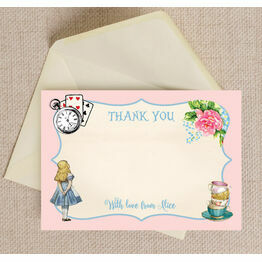 Pink & Blue Alice in Wonderland Thank You Card