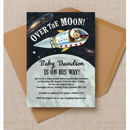 Spaceman 'Over the Moon' Baby Shower Invitation
