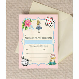 Pack of 10 Pink & Blue Alice In Wonderland Party Invitations