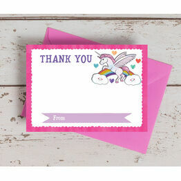 Pack of 10 Rainbow Unicorn Thank You Cards (Non-Personalised)