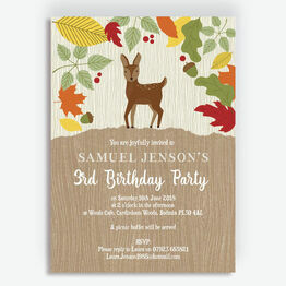 Woodland Animals Birthday Party Invitation