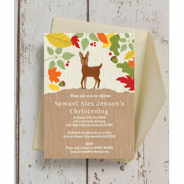Woodland Animals Christening / Baptism Invitation
