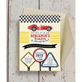 Racing Cars Personalised Birthday Party Invitation