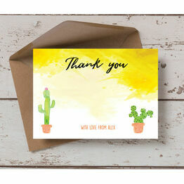 Cactus Themed Personalised Thank You Card