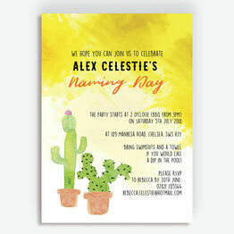 Cactus Naming Day Ceremony Invitation