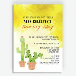 Cactus Naming Day Ceremony Invitation