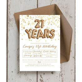 Gold Balloon Letters 21st Birthday Party Invitation