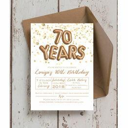 Gold Balloon Letters 70th Birthday Party Invitation