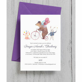 Circus Friends Christening / Baptism Invitation