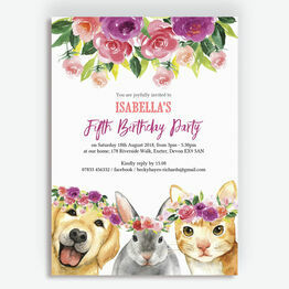 Flower Crown Animals Birthday Party Invitation