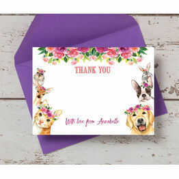 Flower Crown Animals Thank You Card