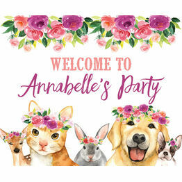 Flower Crown Animals Party Sign