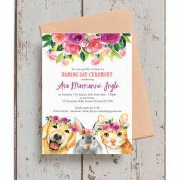 Flower Crown Animals Naming Day Ceremony Invitation