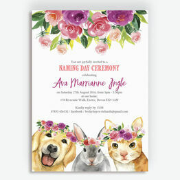 Flower Crown Animals Naming Day Ceremony Invitation