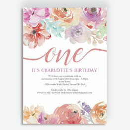 Pastel Floral Birthday Party Invitation