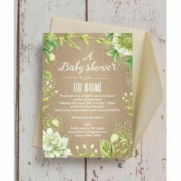Rustic Greenery Baby Shower Invitation