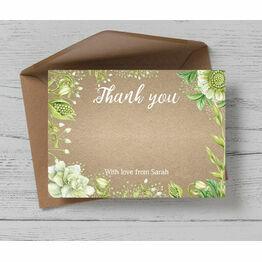 Rustic Greenery Thank You Card