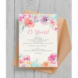 Pastel Floral 25th / Silver Wedding Aniversary Invitation