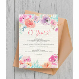 Pastel Floral 60th / Diamond Wedding Aniversary Invitation